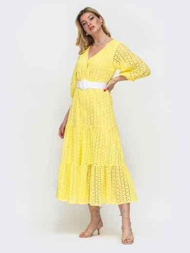 Расклешенное платье желтого цвета из прошвы  48281, фото 2