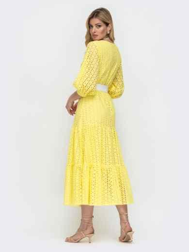 Расклешенное платье желтого цвета из прошвы  48281, фото 3