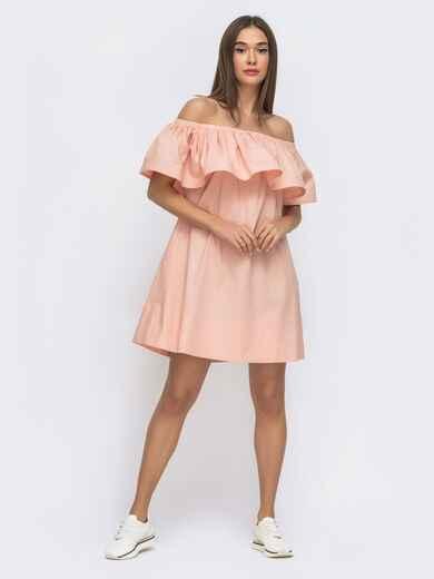 Розовое платье свободного кроя с открытой линией плеч 48269, фото 1