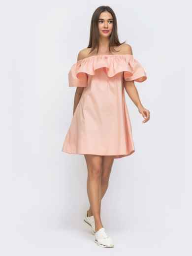 Розовое платье свободного кроя с открытой линией плеч 48269, фото 2