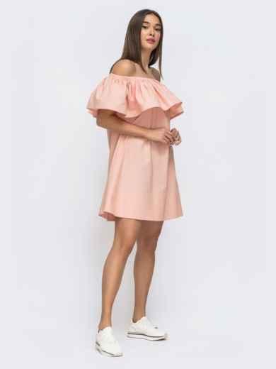 Розовое платье свободного кроя с открытой линией плеч 48269, фото 3
