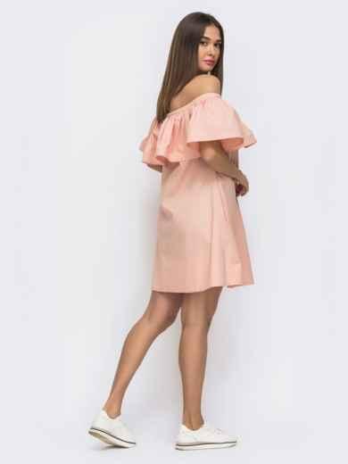 Розовое платье свободного кроя с открытой линией плеч 48269, фото 4