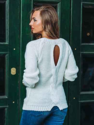 """Свитер с вырезом """"капля"""" на спине белый - 13048, фото 3 – интернет-магазин Dressa"""