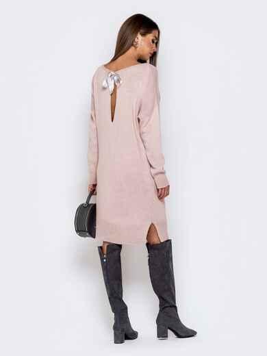 Вязаное платье с вырезом по спинке пудровое - 41046, фото 1 – интернет-магазин Dressa