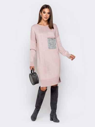 Вязаное платье с вырезом по спинке пудровое - 41046, фото 2 – интернет-магазин Dressa
