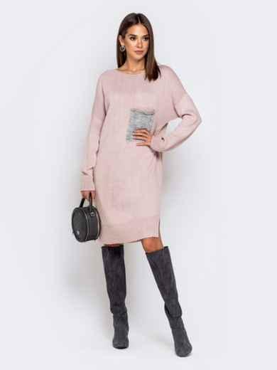 Вязаное платье с вырезом по спинке пудровое - 41046, фото 3 – интернет-магазин Dressa