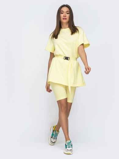 Желтый комплект с футболкой oversize+велосипедки  48301, фото 1