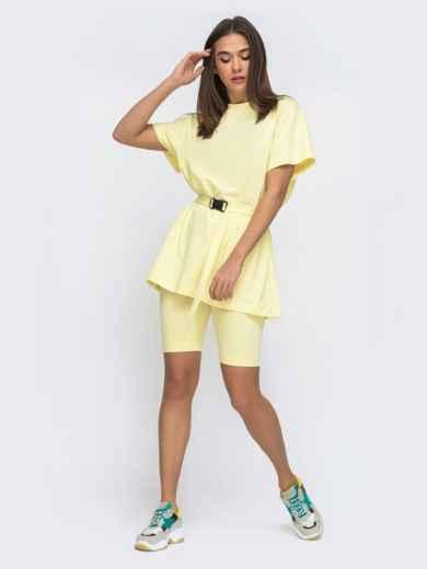 Желтый комплект с футболкой oversize+велосипедки  48301, фото 2