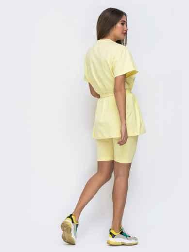 Желтый комплект с футболкой oversize+велосипедки  48301, фото 3