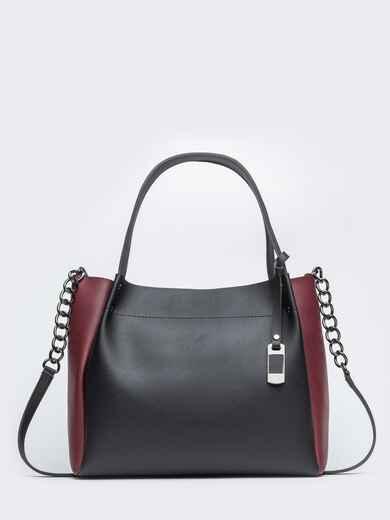 Чёрная сумка-тоут с контрастными вставками на ремешке - 20532, фото 1 – интернет-магазин Dressa