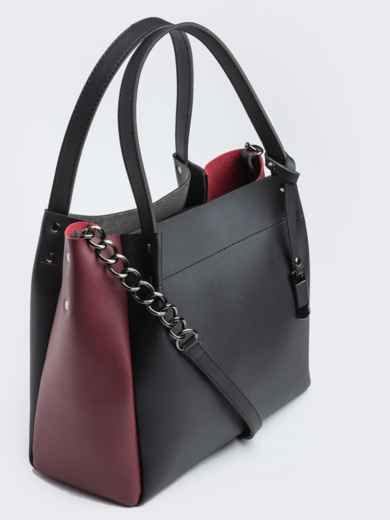 Чёрная сумка-тоут с контрастными вставками на ремешке - 20532, фото 2 – интернет-магазин Dressa