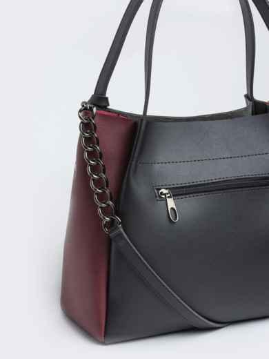 Чёрная сумка-тоут с контрастными вставками на ремешке - 20532, фото 3 – интернет-магазин Dressa