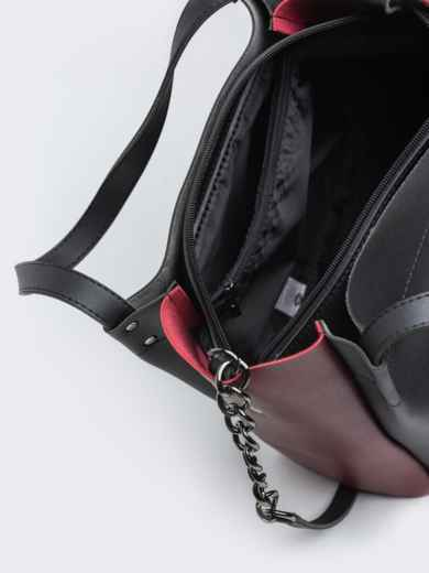 Чёрная сумка-тоут с контрастными вставками на ремешке - 20532, фото 4 – интернет-магазин Dressa