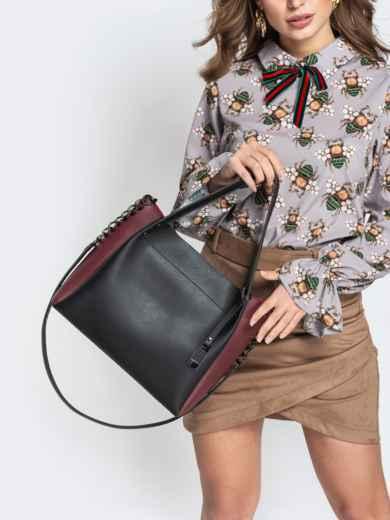 Чёрная сумка-тоут с контрастными вставками на ремешке - 20532, фото 5 – интернет-магазин Dressa