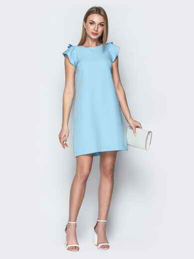 Голубое платье приталенного кроя с V-вырезом по спинке 21387, фото 1