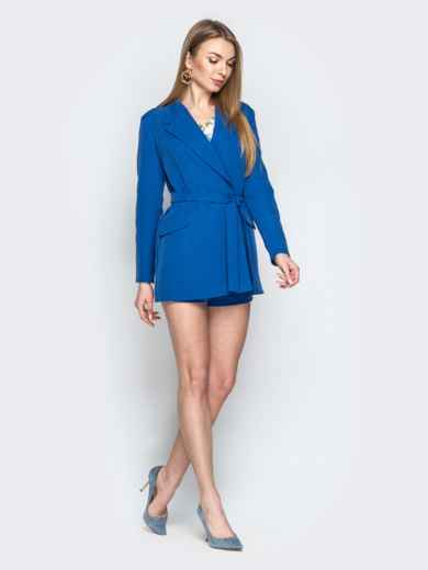 Комплект из пиджака без застёжек и шорт синий - 20943, фото 3 – интернет-магазин Dressa