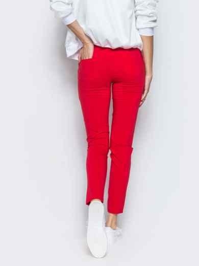 Красные брюки-бойфренды с резинкой на поясе - 10320, фото 2 – интернет-магазин Dressa