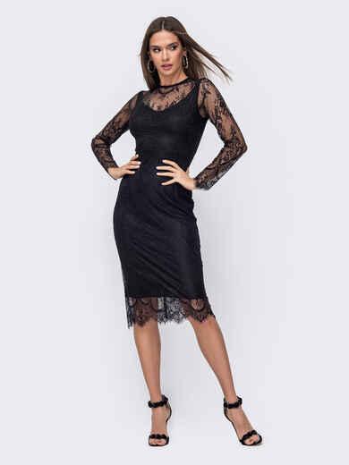 Обтягивающее платье-миди из кружева чёрного цвета 52389, фото 1