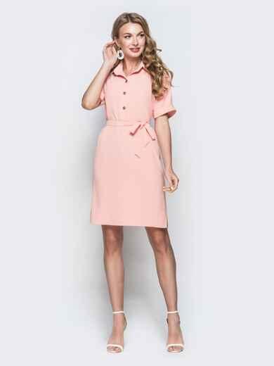 Персиковое платье-рубашка с цельнокроенным рукавом - 38418, фото 1 – интернет-магазин Dressa