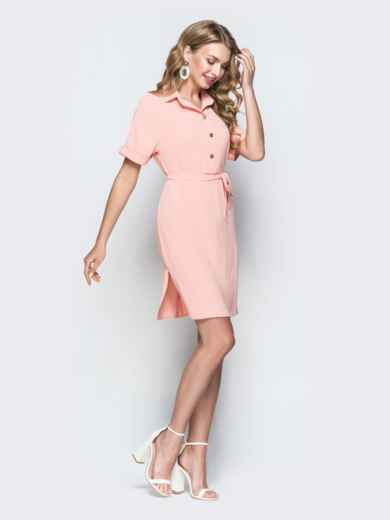 Персиковое платье-рубашка с цельнокроенным рукавом - 38418, фото 2 – интернет-магазин Dressa