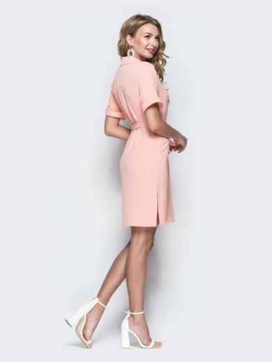 Персиковое платье-рубашка с цельнокроенным рукавом - 38418, фото 3 – интернет-магазин Dressa