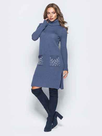 Синее вязаное платье с жемчугом на карманах 15934, фото 1