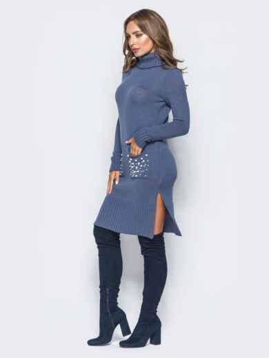 Синее вязаное платье с жемчугом на карманах - 15934, фото 2 – интернет-магазин Dressa