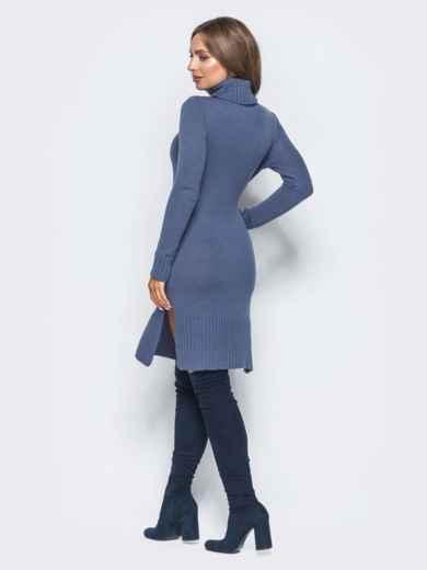 Синее вязаное платье с жемчугом на карманах - 15934, фото 3 – интернет-магазин Dressa