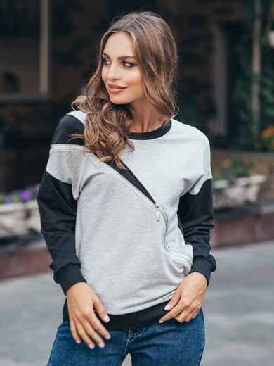 Свитшот серо-черного цвета с косой молнией на полочке - 16171, фото 1 – интернет-магазин Dressa