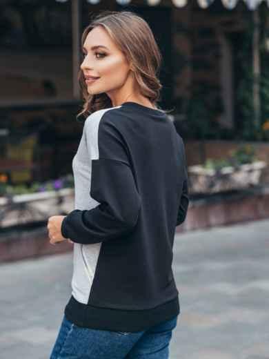 Свитшот серо-черного цвета с косой молнией на полочке - 16171, фото 2 – интернет-магазин Dressa