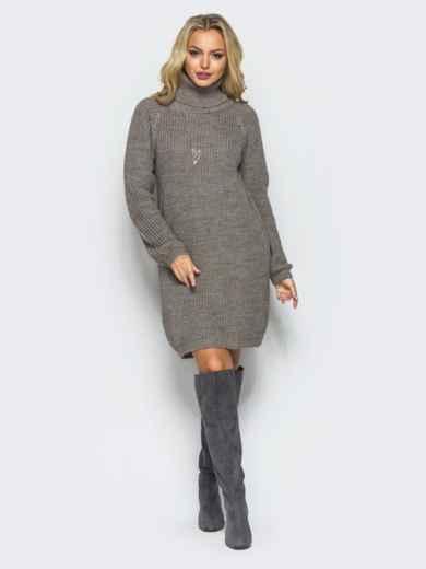 Вязаное платье на резинке с высоким воротником бежевое - 15930, фото 2 – интернет-магазин Dressa