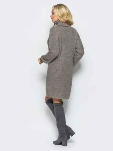 Вязаное платье на резинке с высоким воротником бежевое - 15930, фото 3 – интернет-магазин Dressa