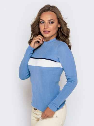 Вязаный гольф голубого цвета с контрастной вставкой - 40775, фото 2 – интернет-магазин Dressa
