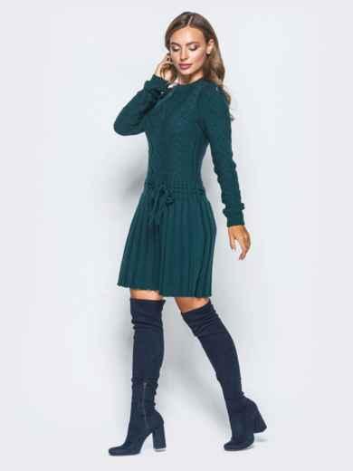 Зеленое вязаное платье с резинкой на поясе - 15940, фото 2 – интернет-магазин Dressa