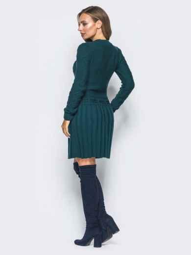 Зеленое вязаное платье с резинкой на поясе - 15940, фото 3 – интернет-магазин Dressa