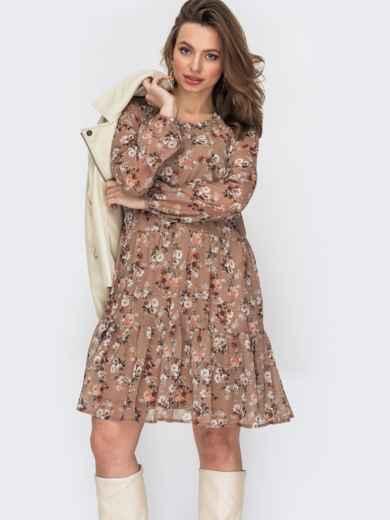 Короткое платье из шифона с цветочным принтом бежевое 52875, фото 1