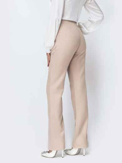 Бежевые брюки-клёш с разрезами по низу - 44118, фото 2 – интернет-магазин Dressa