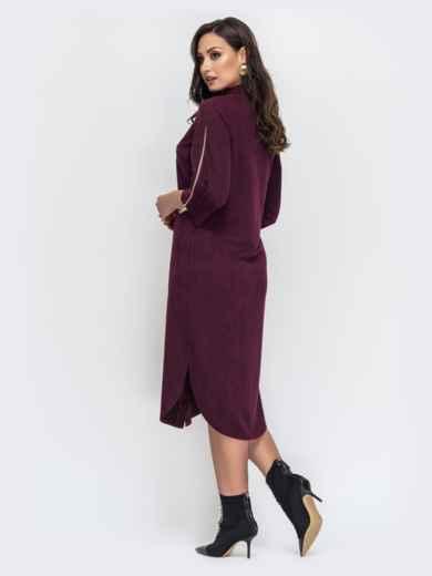 Бордовое платье большого размера из искусственной замши 44120, фото 3
