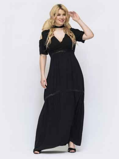 Чёрное платье-макси большого размера с кружевом 46154, фото 1
