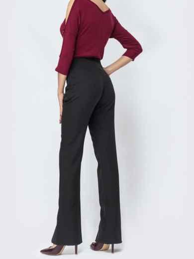 Чёрные брюки-клёш с разрезами по низу - 44116, фото 2 – интернет-магазин Dressa
