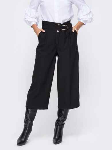 Чёрные брюки-кюлоты с завышенной талией 51677, фото 1