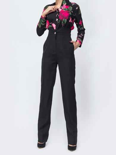 Чёрные брюки прямого кроя с высокой посадкой 44114, фото 1