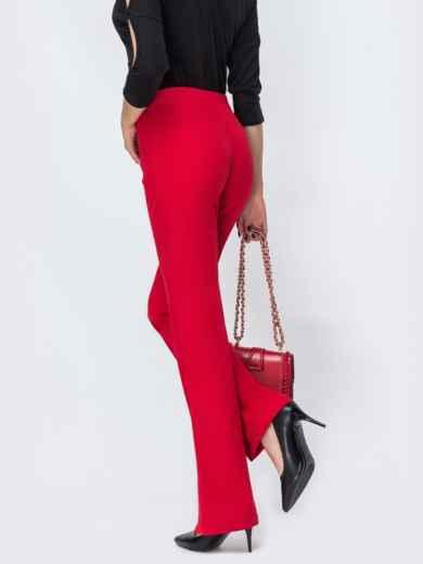 Красные брюки-клёш с разрезами по низу - 44117, фото 2 – интернет-магазин Dressa