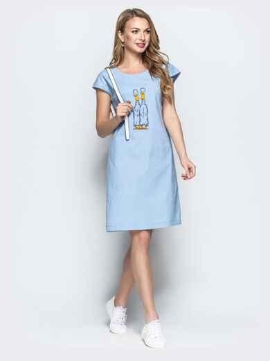 Льняное платье с вышивкой голубого цвета 21927, фото 1