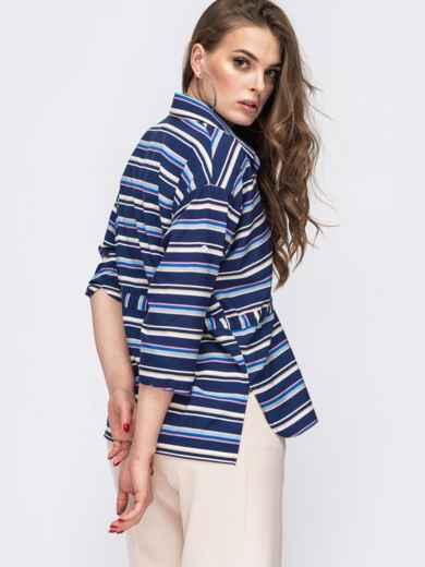 Синяя блузка в полоску с кулиской по талии 45576, фото 3