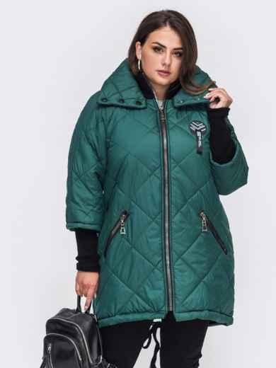 Стеганая куртка батал с трикотажными манжетами зеленая 50754, фото 1