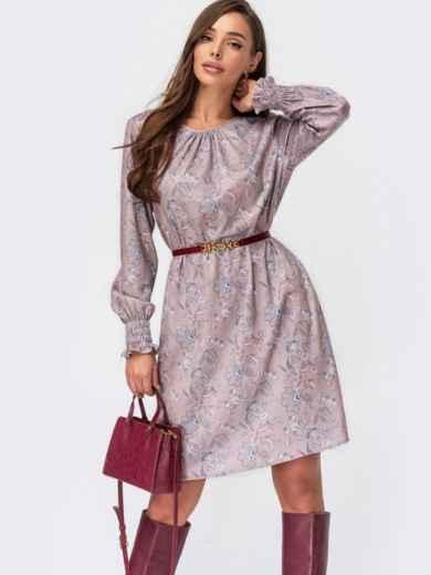 Платье-трапецияспринтом и длинными рукавами бежевое 55522, фото 1
