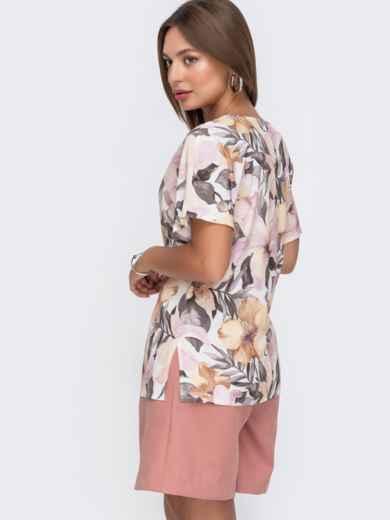 Белая блузка с цветочным принтом и вшитым поясом сбоку - 49112, фото 3 – интернет-магазин Dressa