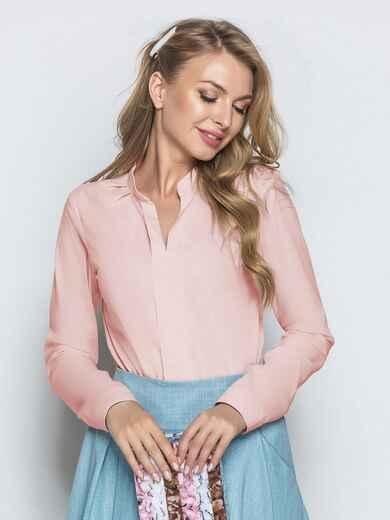 Блузка из софта с V-вырезом розовая 49799, фото 1