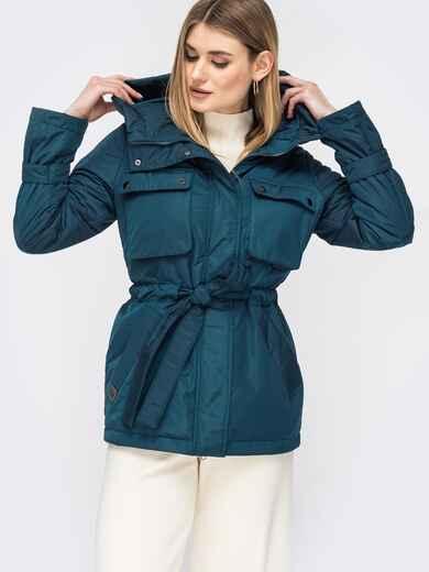 Демисезонная куртка с кулиской по талии тёмно-синяя 45169, фото 1